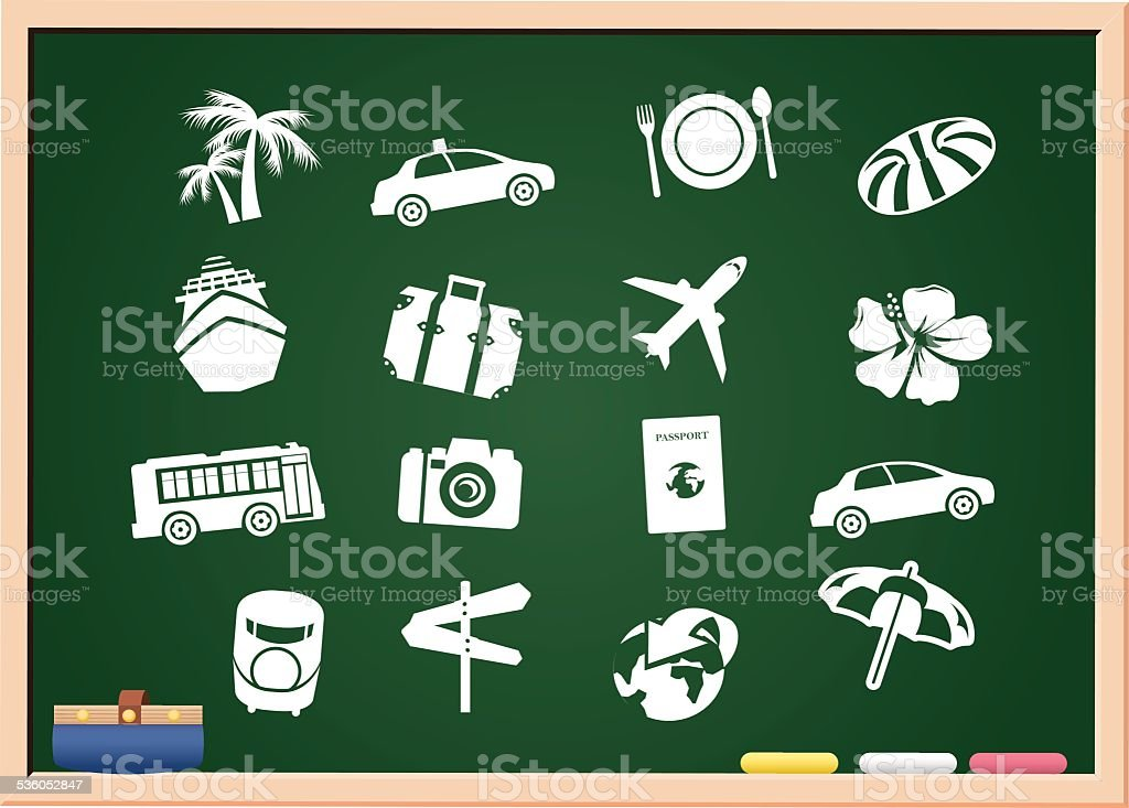 tourism icons blackboard Vector vector art illustration