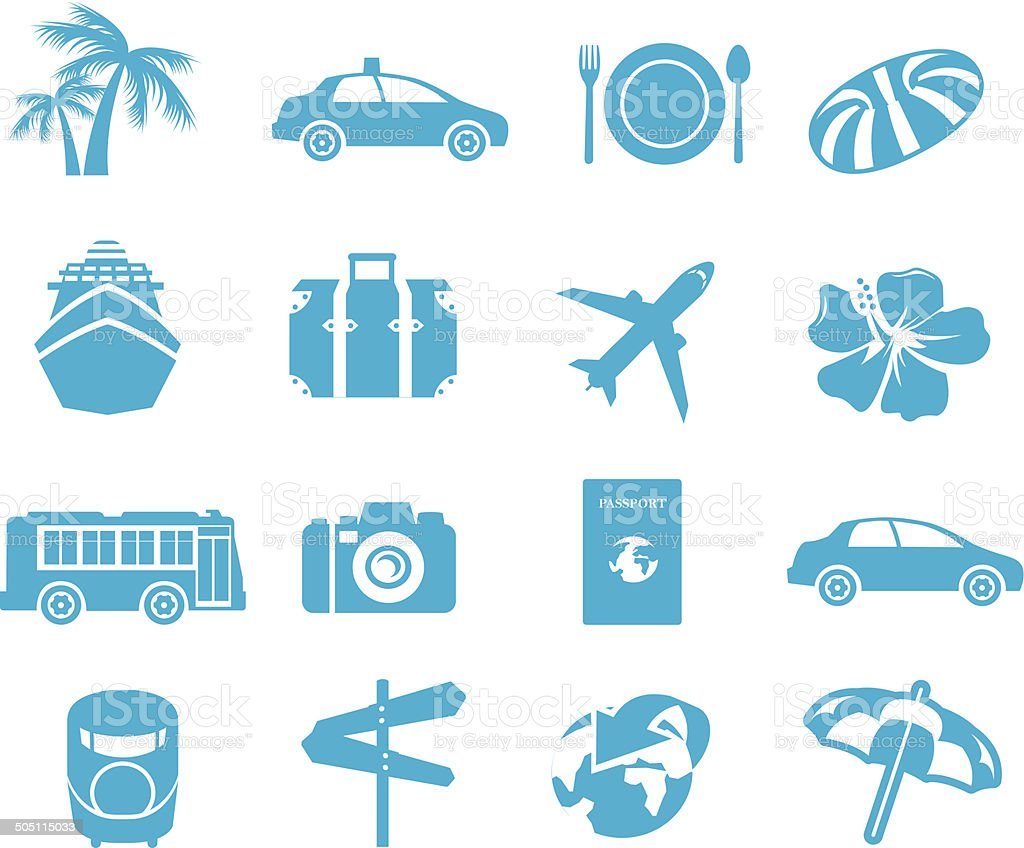 tourism icons Vector vector art illustration