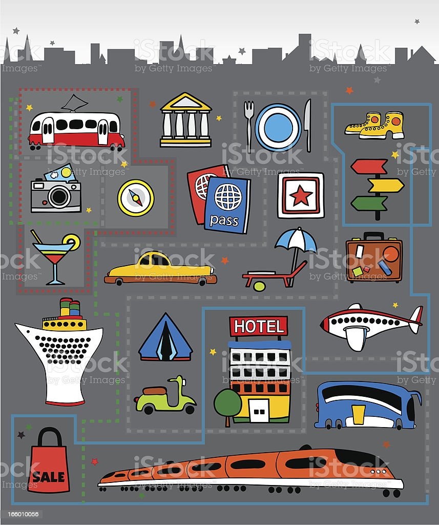 Tourism in a city vector art illustration