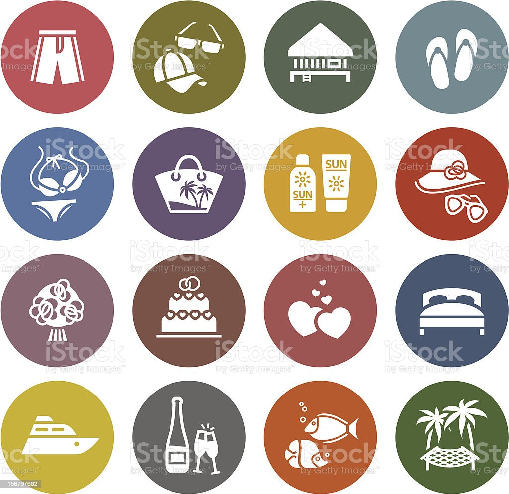 Tourism, Recreation & Vacation, icons set royalty-free stock vector art