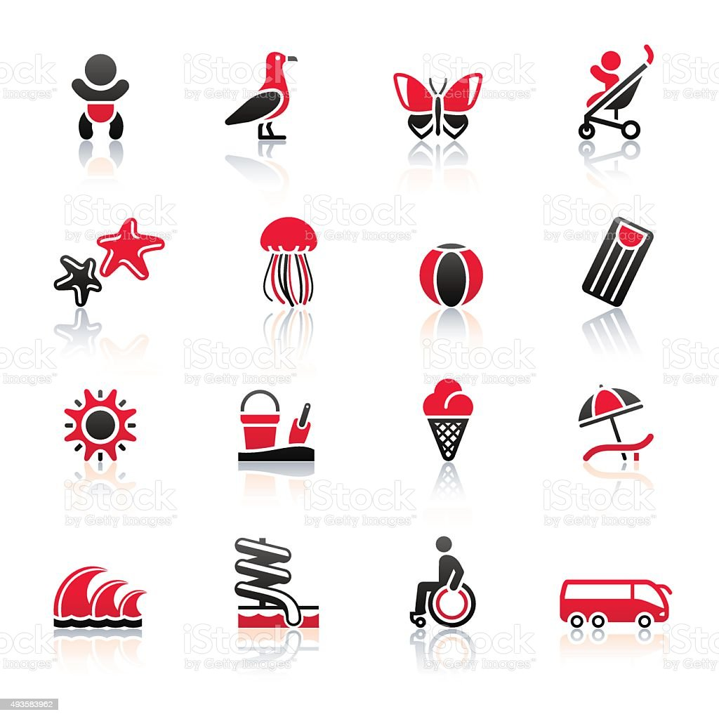 Tourism, Recreation & Vacation, icons set vector art illustration
