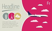 Tourism, Travel Agency flyer. Airplane in the purple sky