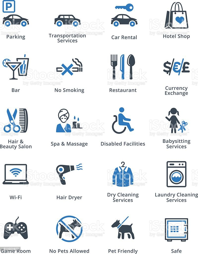 Tourism & Travel Icons Set 3 - Blue Series vector art illustration