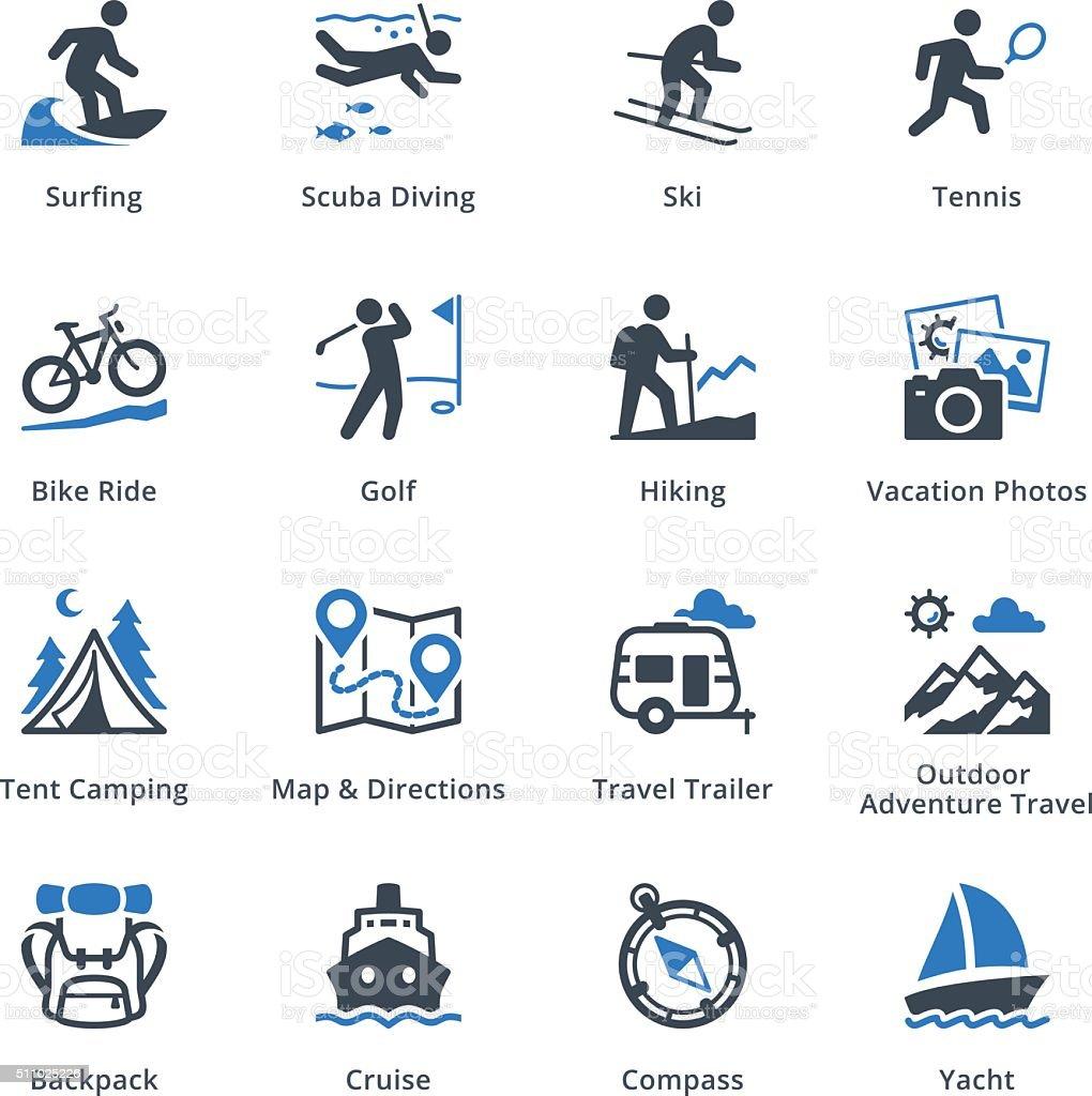 Tourism & Travel Icons Set 4 - Blue Series vector art illustration