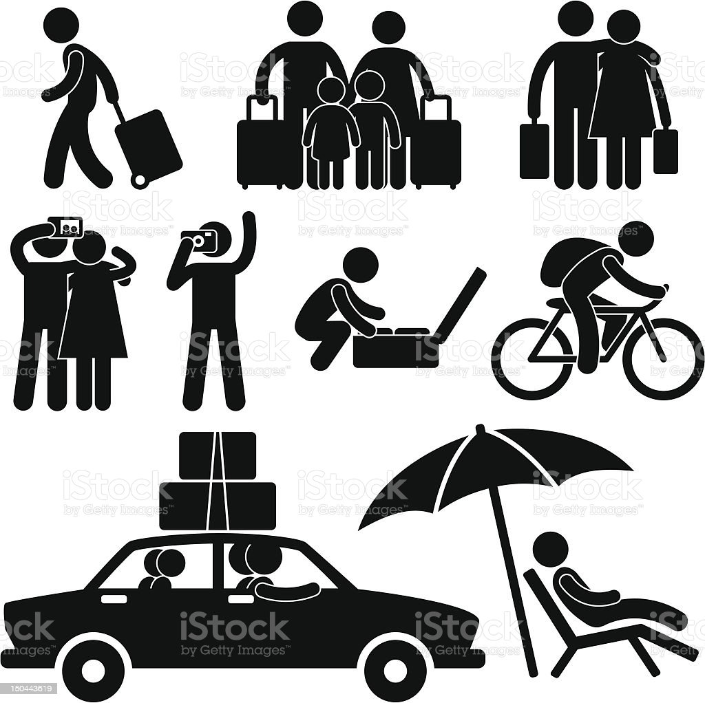 Tourist and Vacation Trip Pictogram vector art illustration
