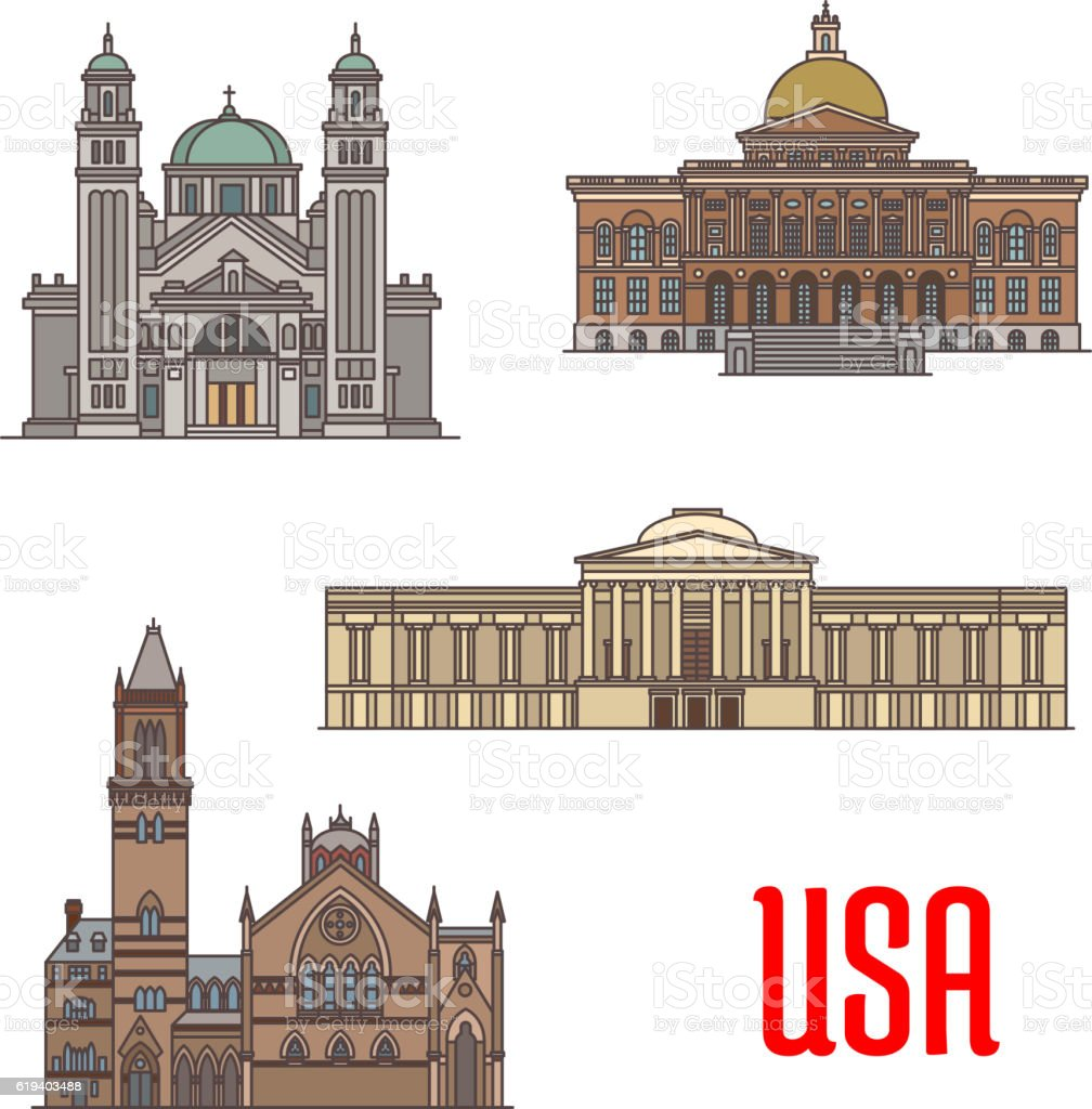 USA tourist attraction and architecture landmarks vector art illustration