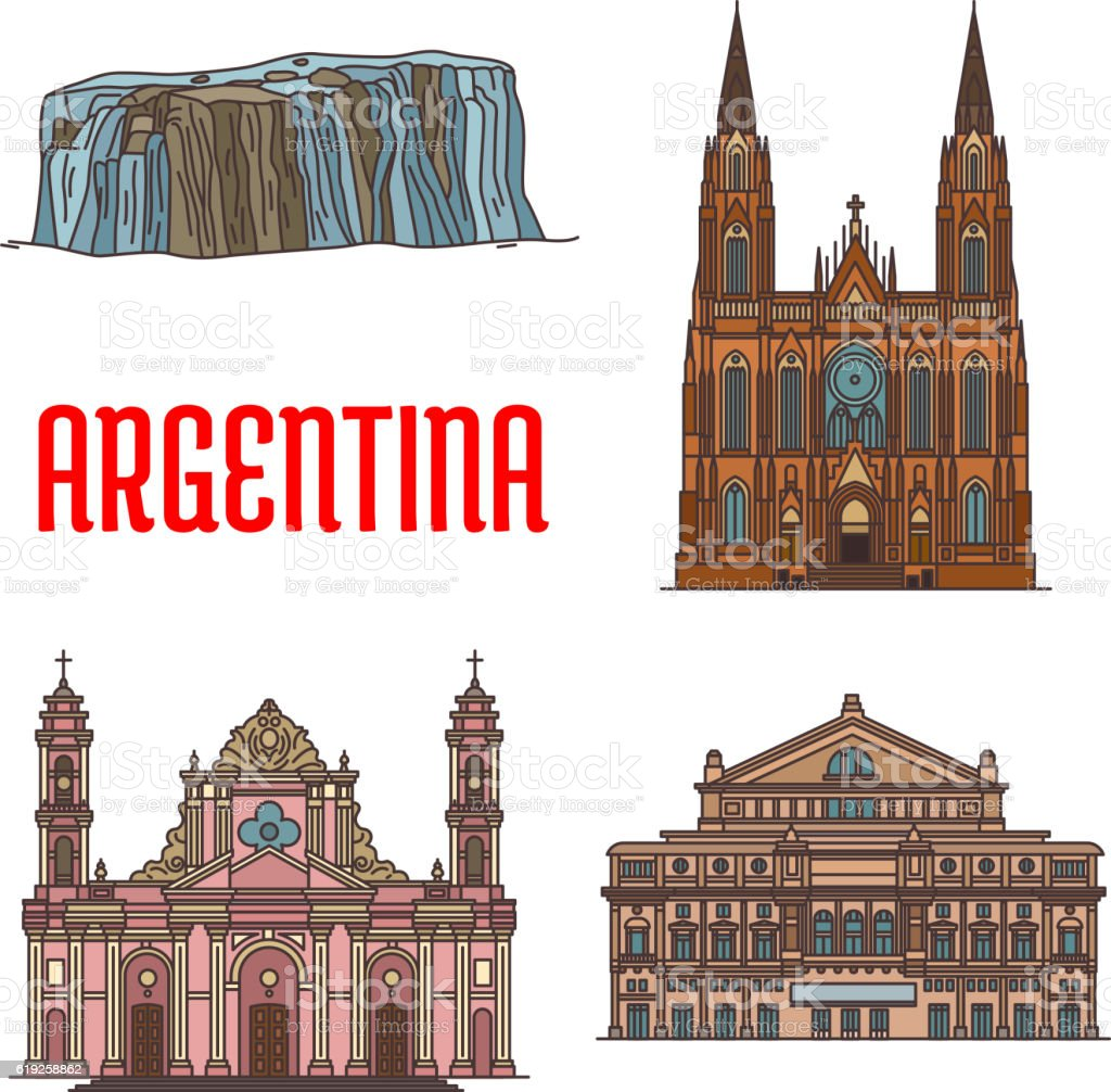 Tourist Attractions Of Argentina stock vector art 619258862 – Tourist Attractions Map In Argentina