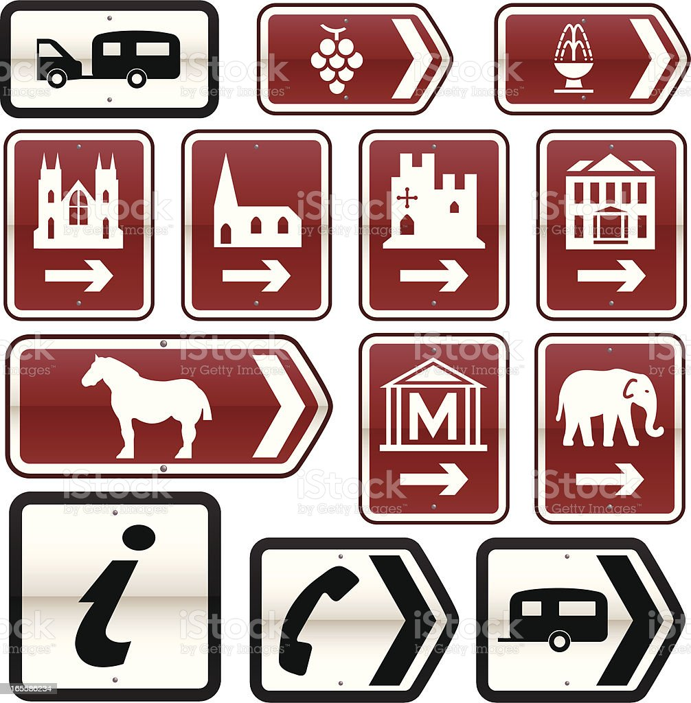 UK Tourist Attractions Road Signs (Set 2) royalty-free stock vector art