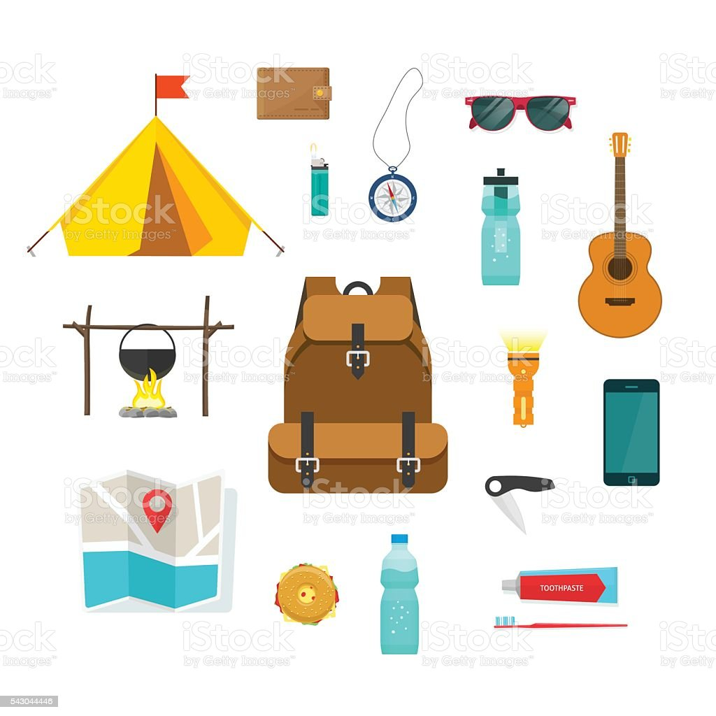 Tourist backpack with camping hiking things equipment to travel isolated vector art illustration