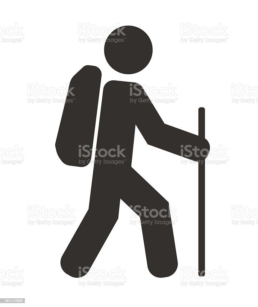 tourist backpacker icon vector art illustration
