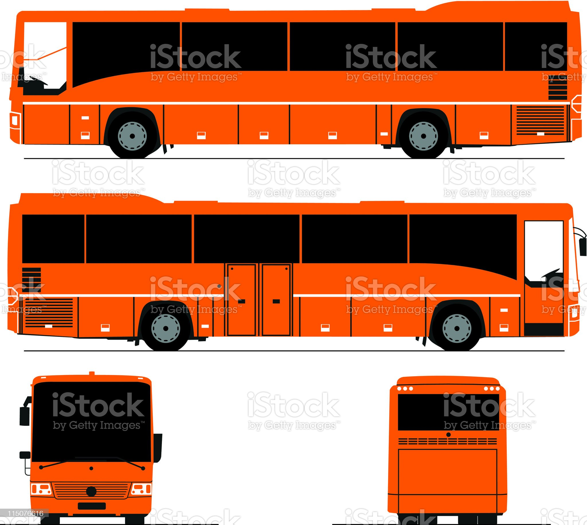 Tourist bus line drawing from all four sides royalty-free stock vector art