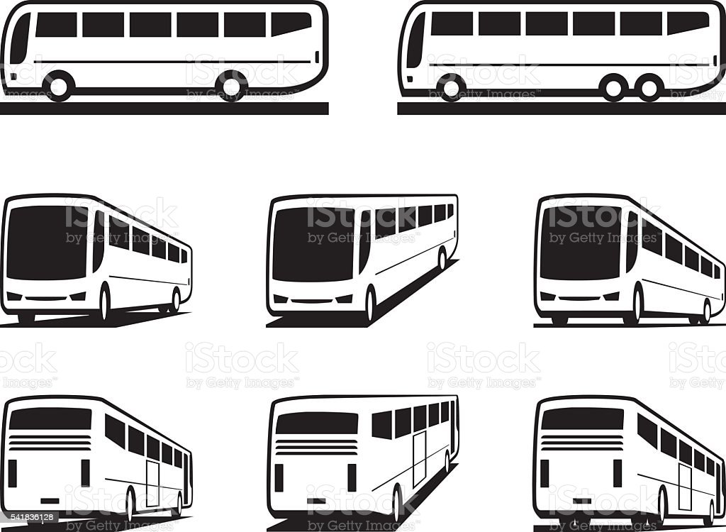 Tourist buses and coaches vector art illustration