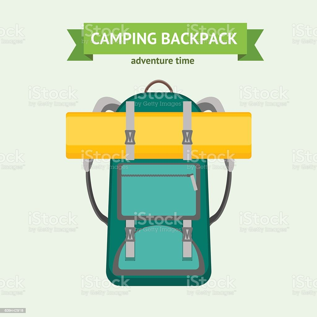 Tourist Camping Backpack Card. Vector vector art illustration