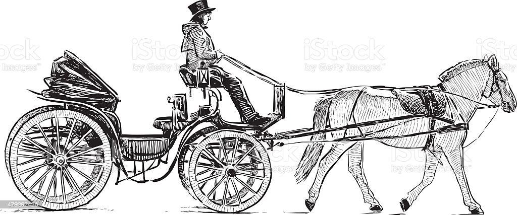 tourist carriage vector art illustration