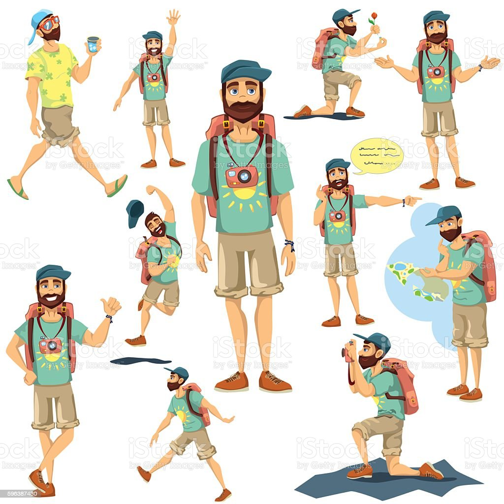 Tourist character vector  illustration set vector art illustration