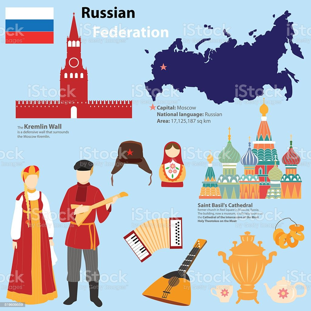 Tourist information about Russia. vector art illustration