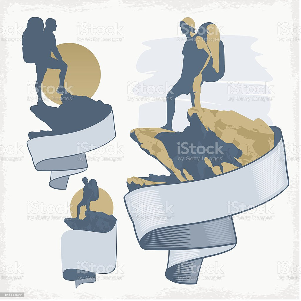 Tourist on a rock royalty-free stock vector art