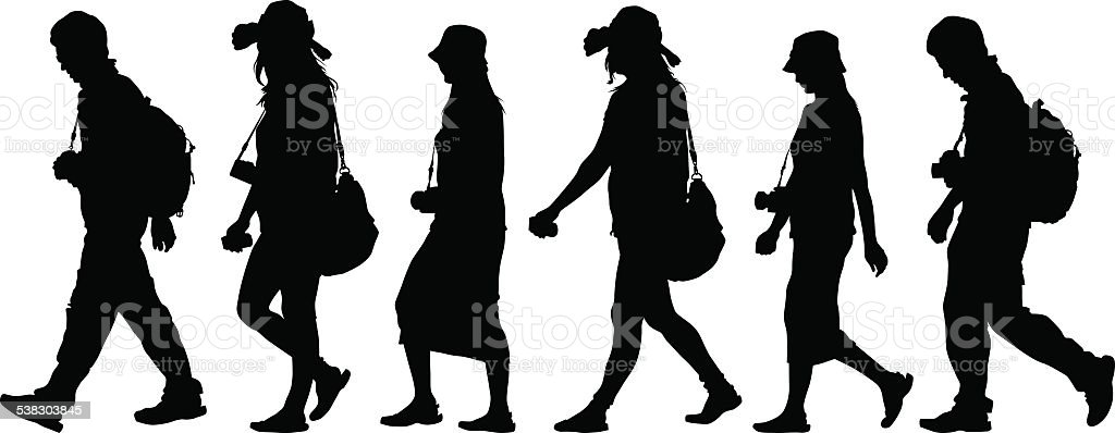 Tourist people vector art illustration
