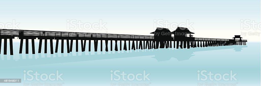 Tourist Pier Silhouette vector art illustration