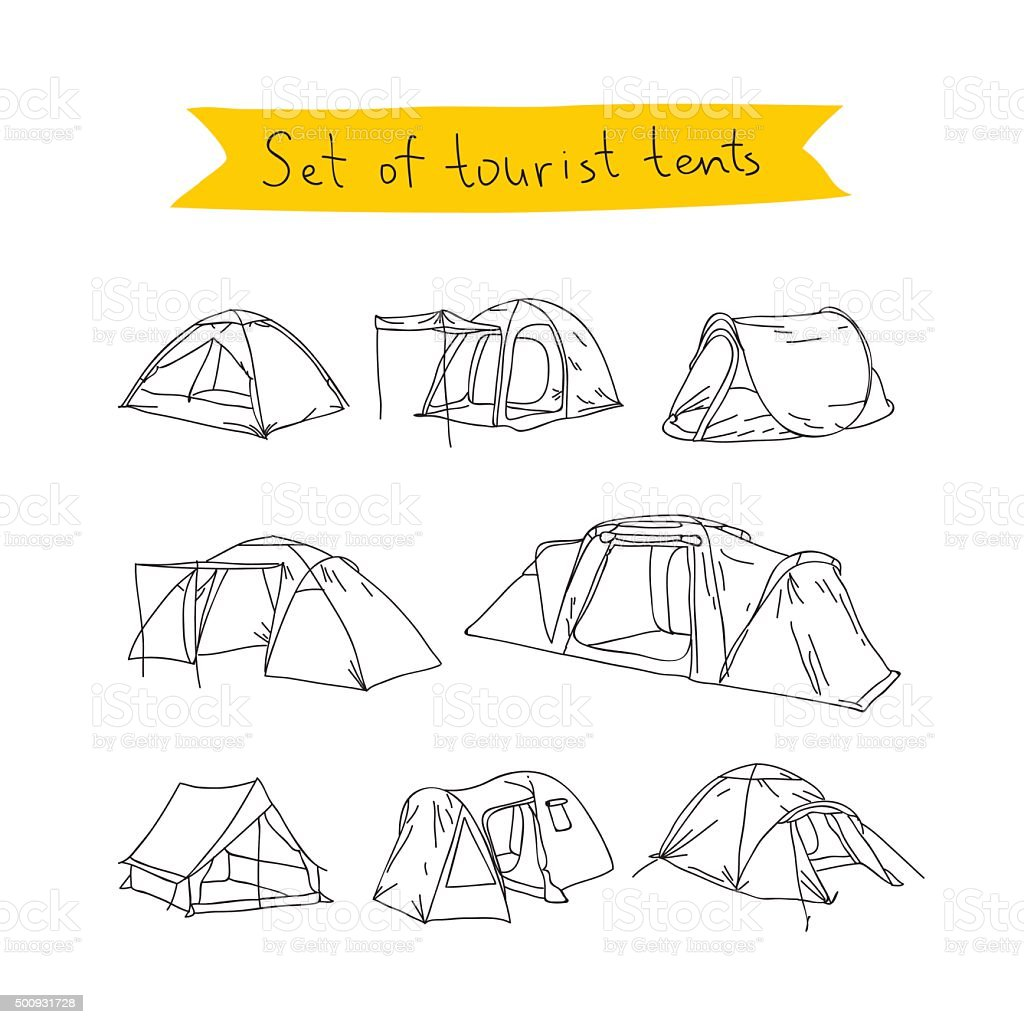 Tourist tent. Vector icons vector art illustration