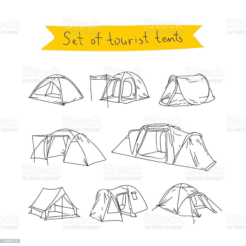 Tourist tent. Vector icons vector art illustration