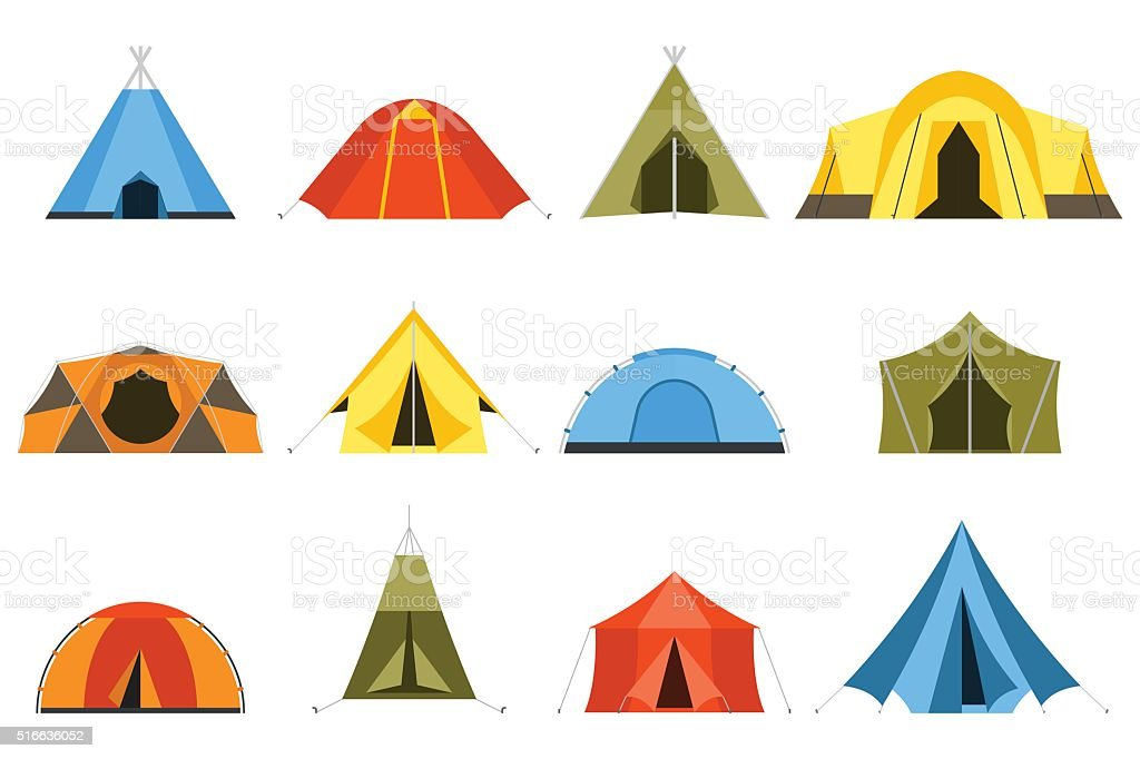 Tourist Tents Vector Icons vector art illustration