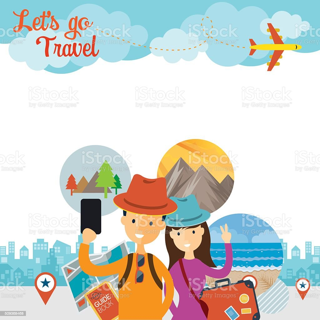 Tourist, Traveler Selfie with Smartphone Frame vector art illustration