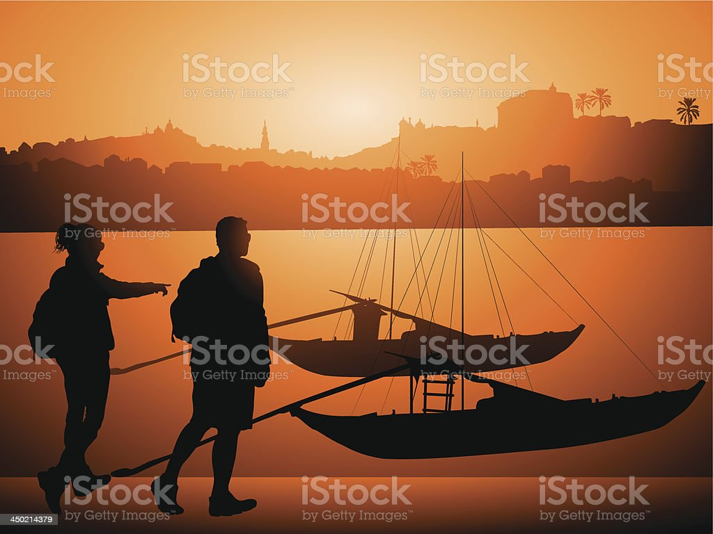 Tourists against Boats on Douro river, Porto Portugal royalty-free stock vector art