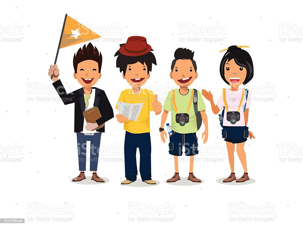 Tourists and guide - vector illustration vector art illustration