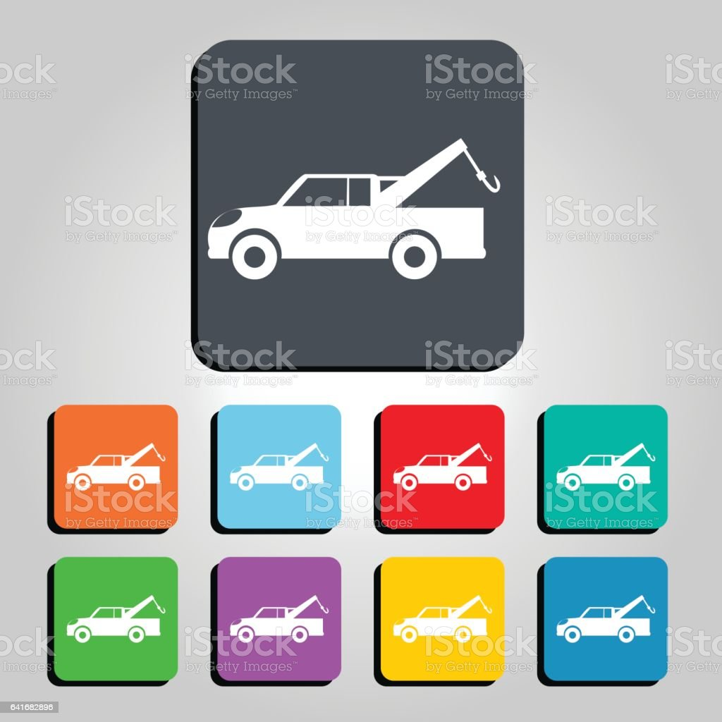 Tow truck and Roadside Assistance Vector Icon Illustration vector art illustration