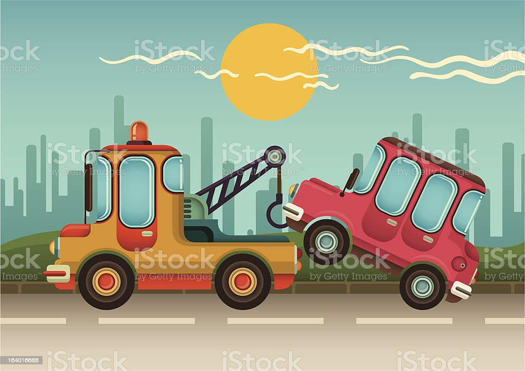 Tow truck with car. vector art illustration