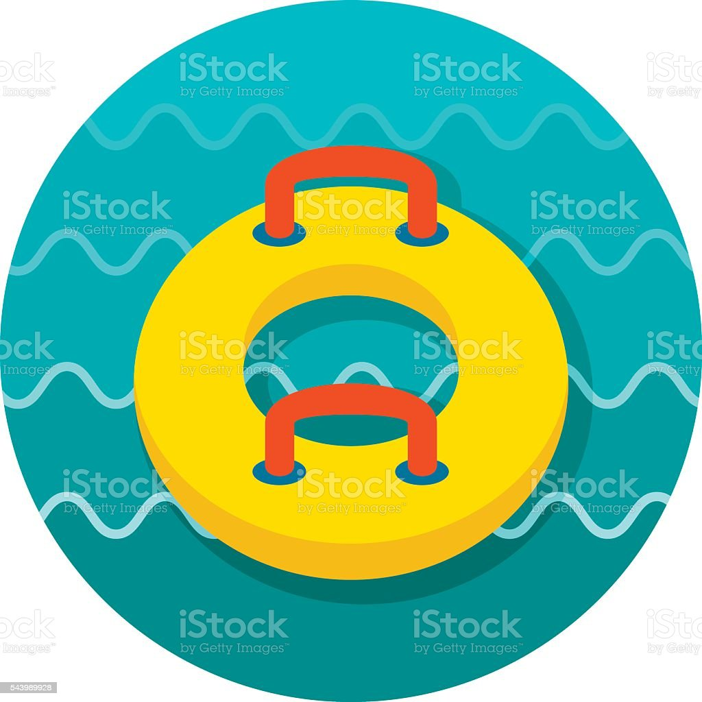 Towable Water Tube. Inflatble Boat icon. Vacation vector art illustration