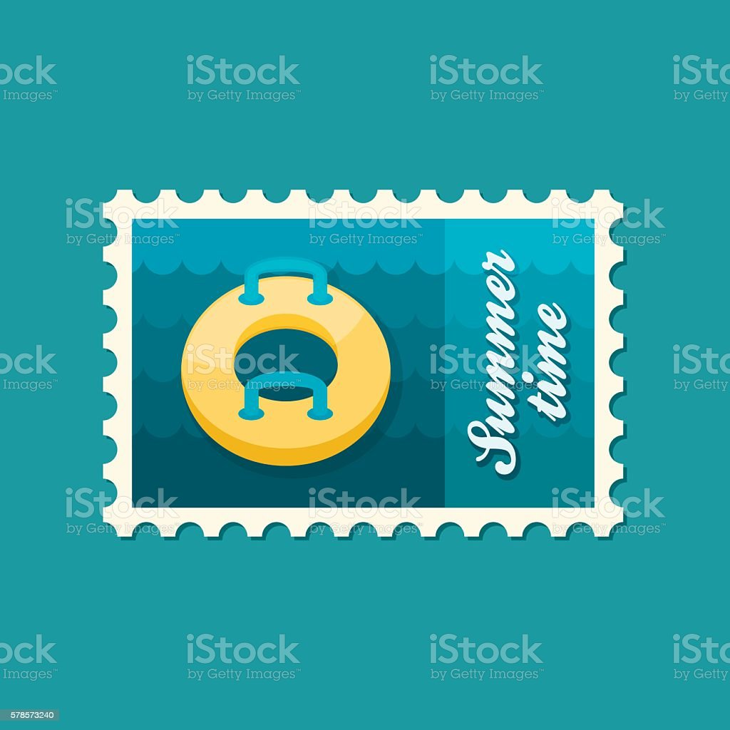 Towable Water Tube. Inflatble Boat stamp. Vacation vector art illustration