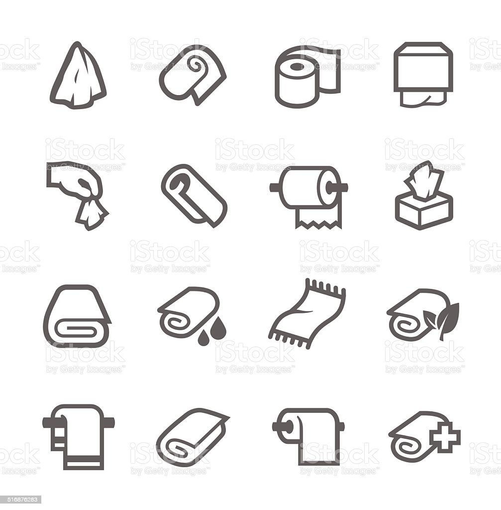 Towels and Napkins Icons vector art illustration