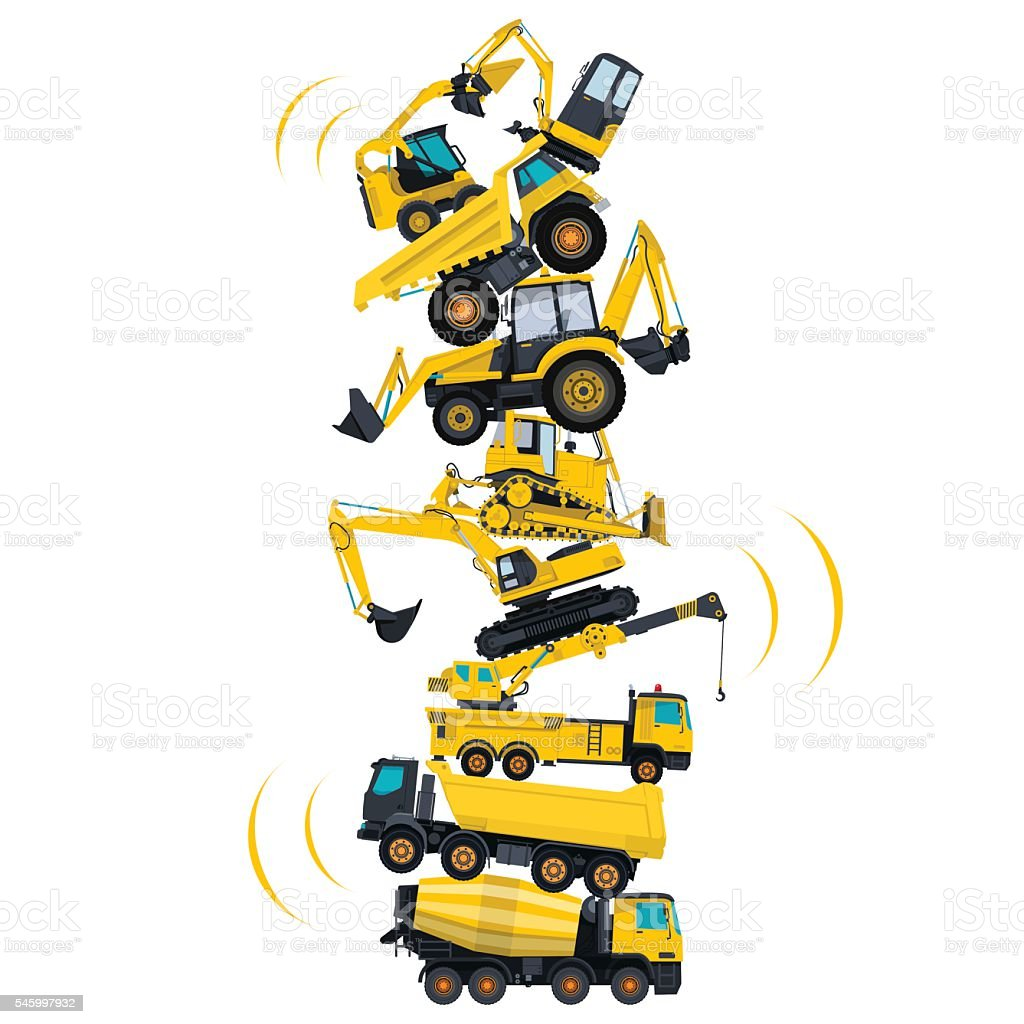 Tower assembled from building machines. Collected ground works. Construction machinery. vector art illustration