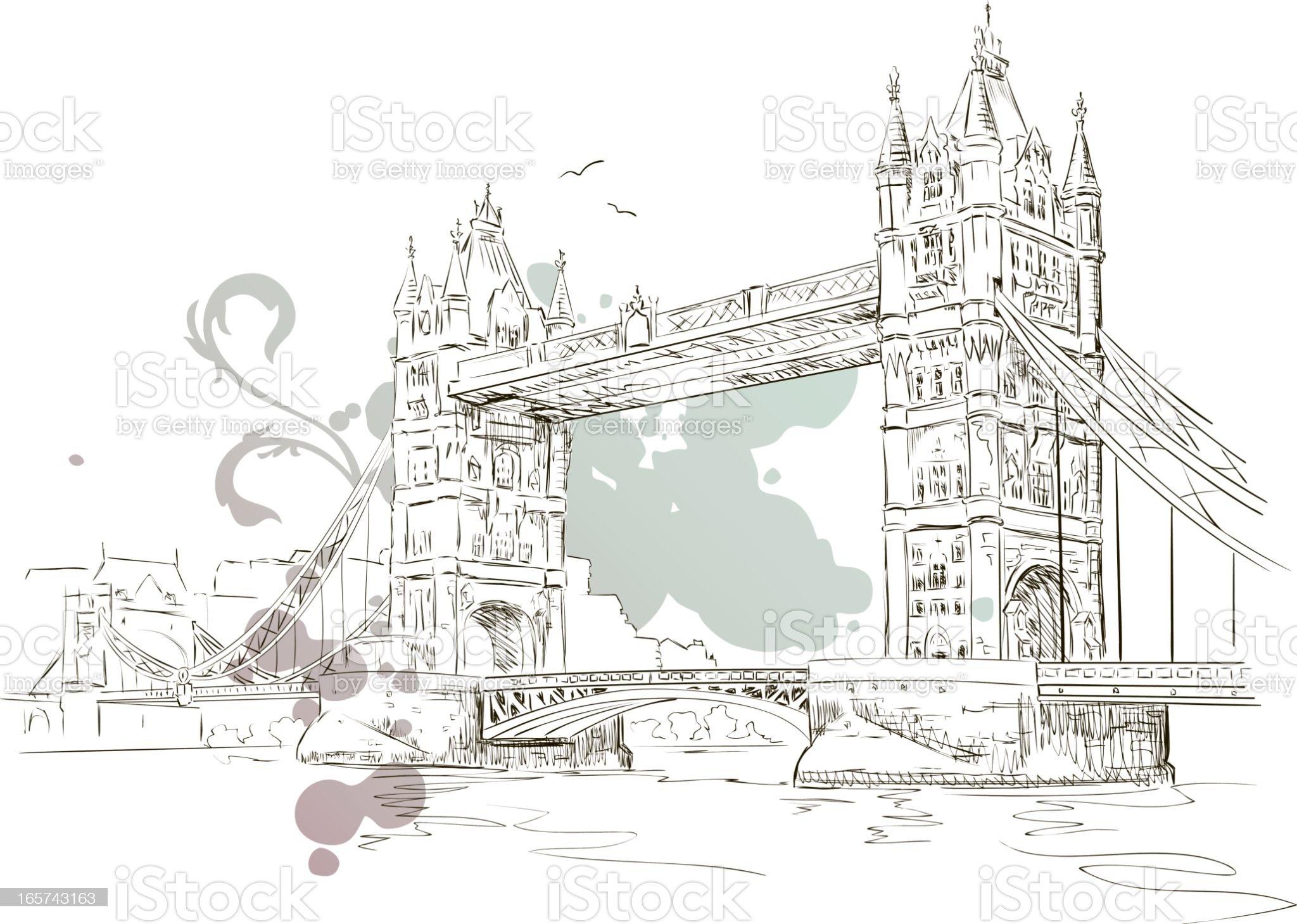 Tower Bridge Drawing royalty-free stock vector art