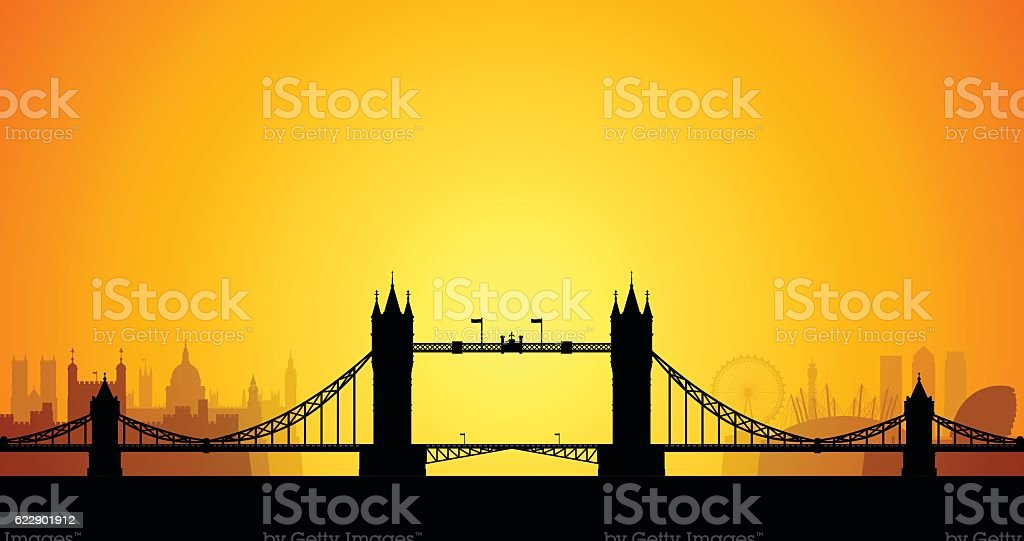 Tower Bridge, London (All Buildings are Detailed and Complete) vector art illustration