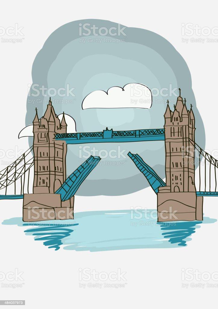 Tower Bridge of London royalty-free stock vector art