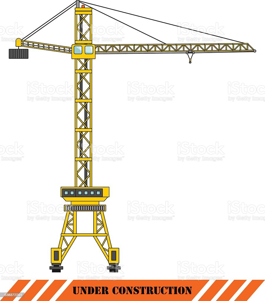 Tower crane. Heavy construction machines. Vector illustration vector art illustration