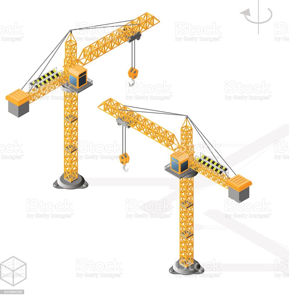 Tower Crane. Left and Right Position. vector art illustration