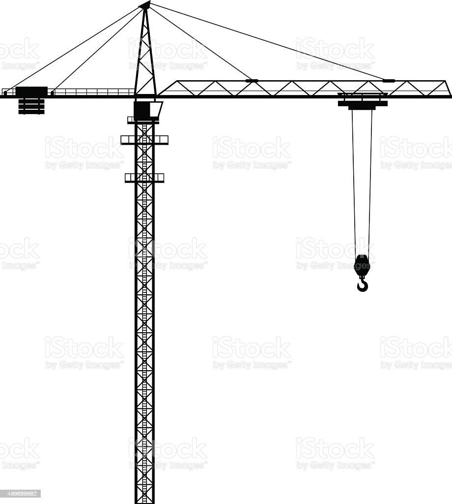 Tower crane shape vector art illustration