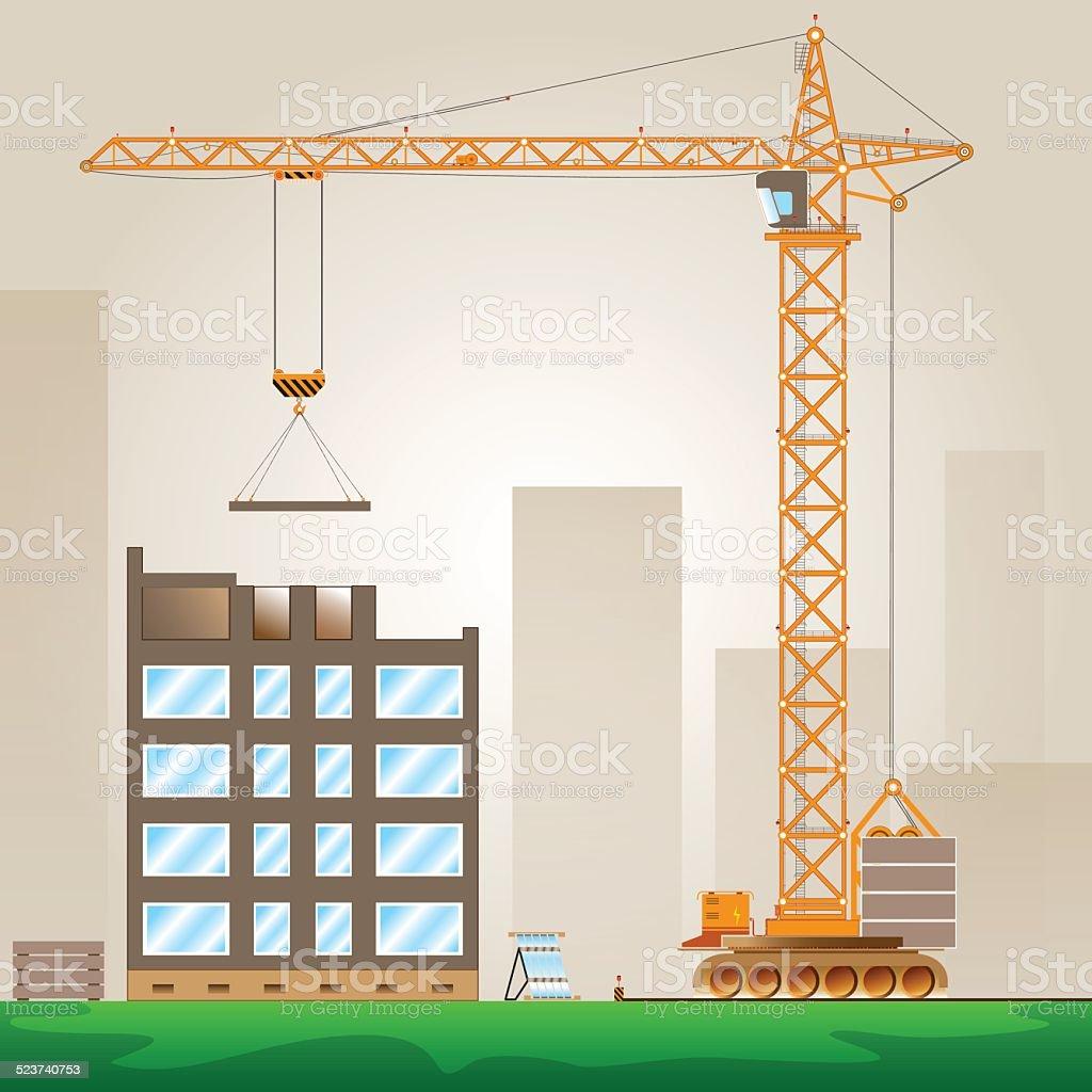 Tower Crane vector art illustration