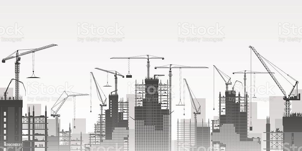 Tower Cranes vector art illustration