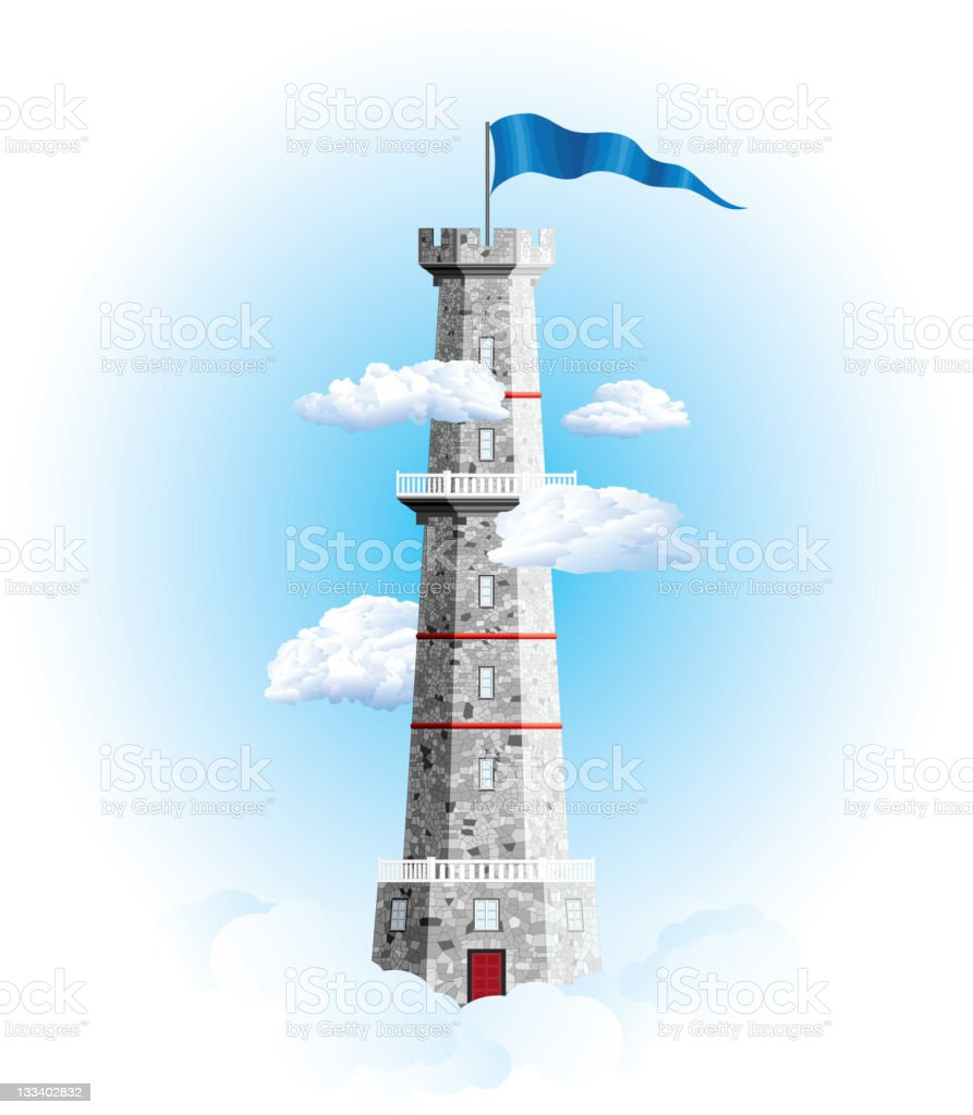 tower in the clouds vector art illustration
