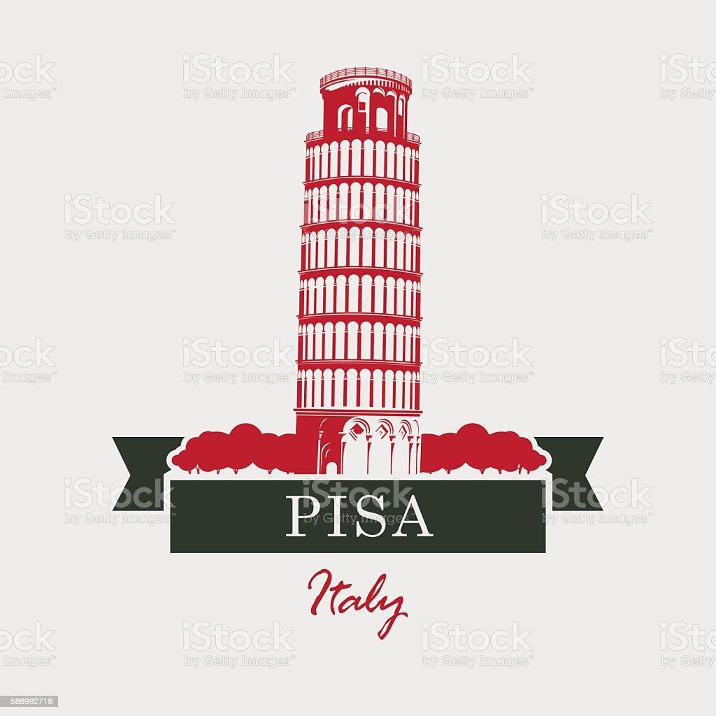 Tower of Pisa vector art illustration