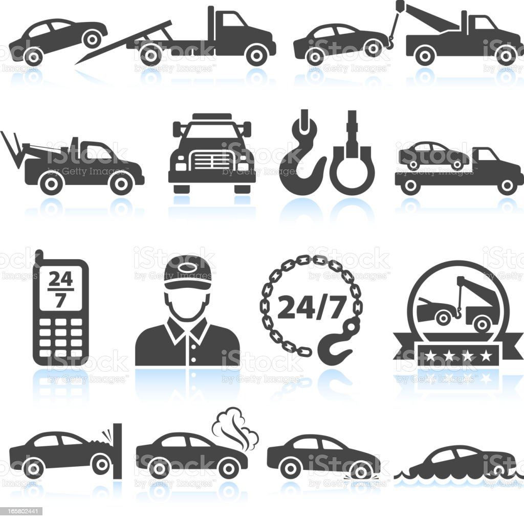 Towing truck black & white royalty free vector icon set vector art illustration