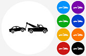 Towing Truck Icon on Flat Color Circle Buttons