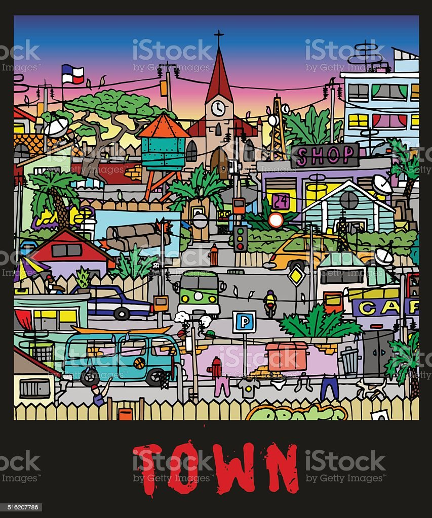 Town. Adverse quarter on a poster. Vector. Isolated vector art illustration