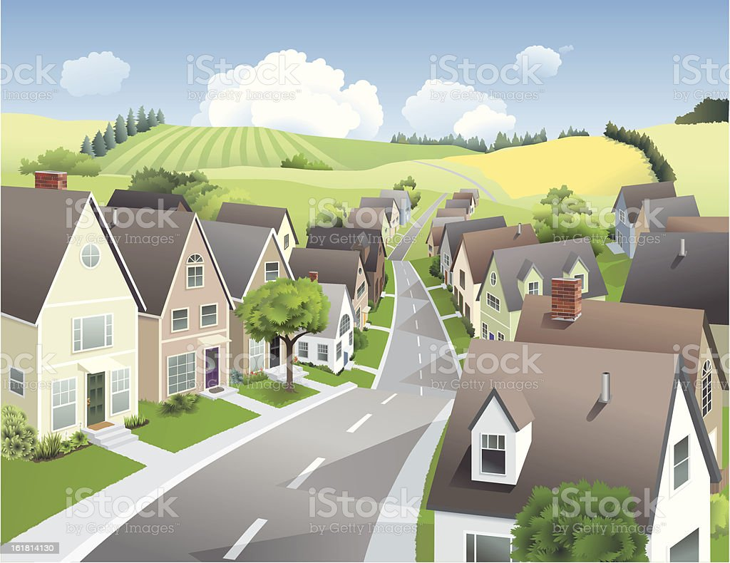 Town and Country vector art illustration