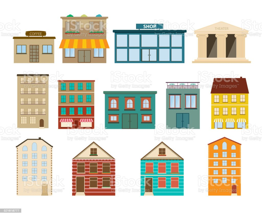 Town and suburban buildings icons on white background vector art illustration